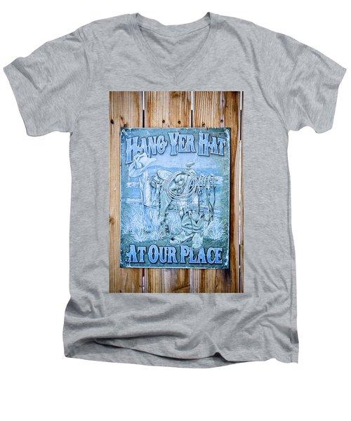 Hang Yer Hat At Our Place Men's V-Neck T-Shirt