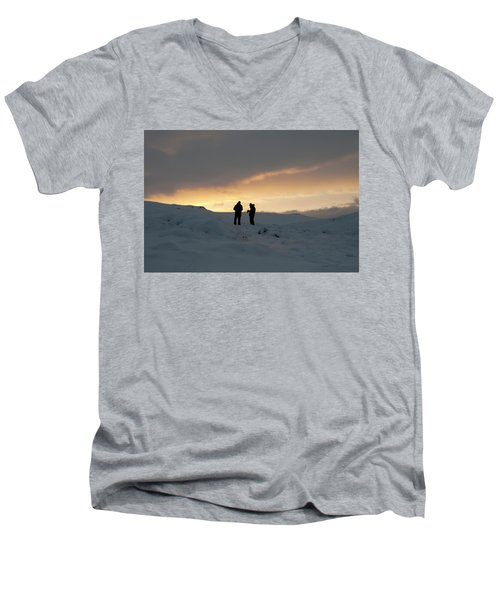 Men's V-Neck T-Shirt featuring the photograph Hanging Around Iceland by Dubi Roman