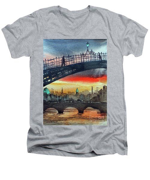 Hapenny Bridge Sunset, Dublin...27apr18 Men's V-Neck T-Shirt