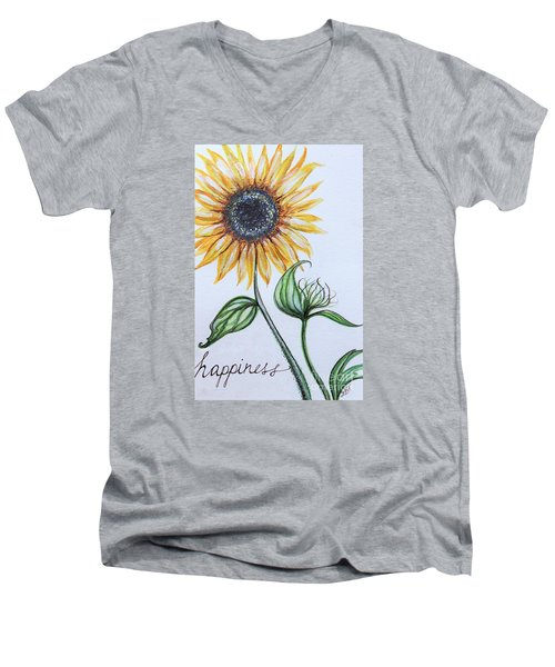 Men's V-Neck T-Shirt featuring the painting Happiness by Elizabeth Robinette Tyndall