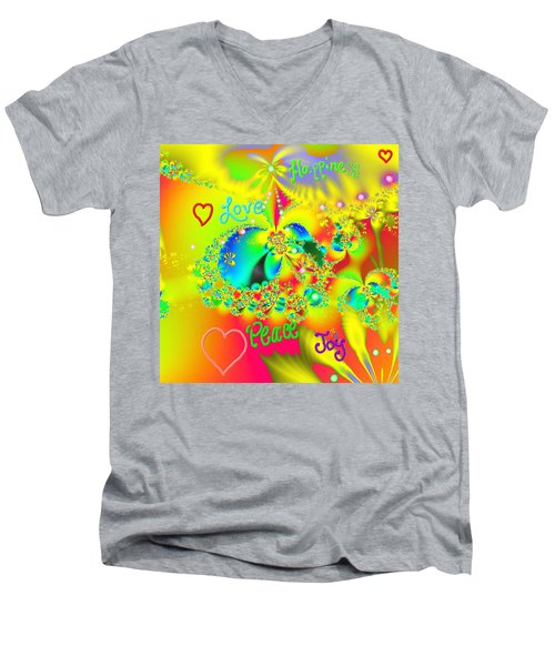 Happiness Men's V-Neck T-Shirt by Kevin Caudill