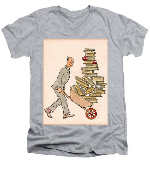 Men's V-Neck T-Shirt featuring the drawing Happy Bibliophile 1930 by Padre Art