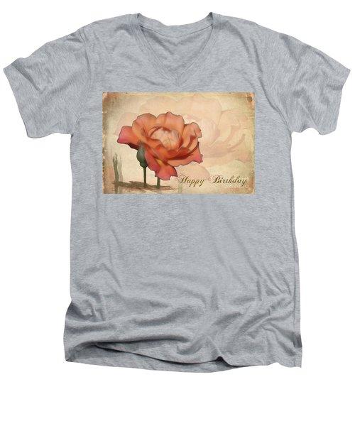 Happy Birthday Peach Rose Card Men's V-Neck T-Shirt