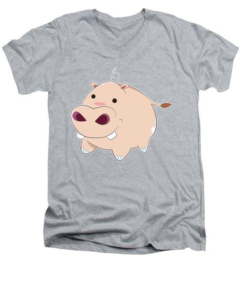 Happy Cartoon Baby Hippo Men's V-Neck T-Shirt by Catifornia Shop