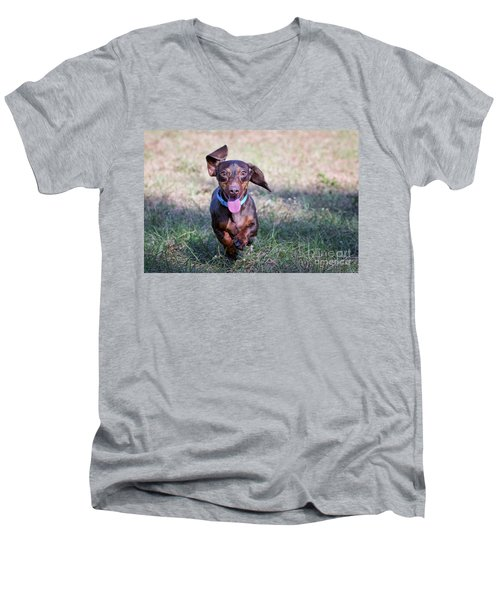 Happy Dachshund Men's V-Neck T-Shirt