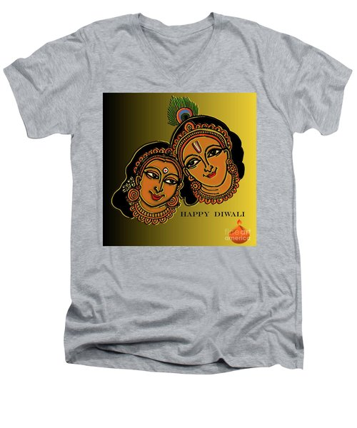 Men's V-Neck T-Shirt featuring the digital art Happy Diwali by Latha Gokuldas Panicker