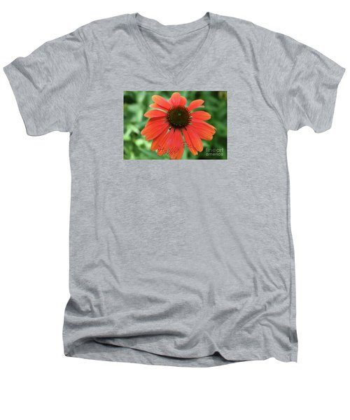 Happy Face Flower Men's V-Neck T-Shirt