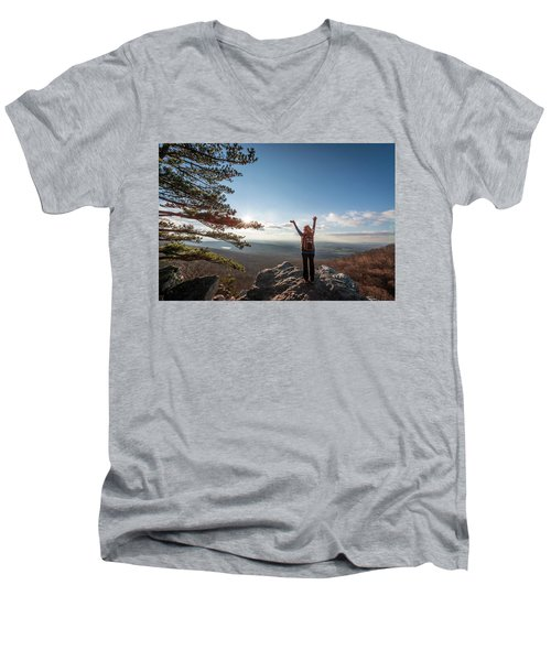 Happy Female Hiker At The Summit Of An Appalachian Mountain Men's V-Neck T-Shirt