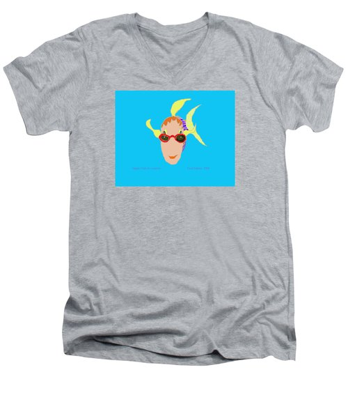 Happy Fish On Vacation Men's V-Neck T-Shirt by Fred Jinkins
