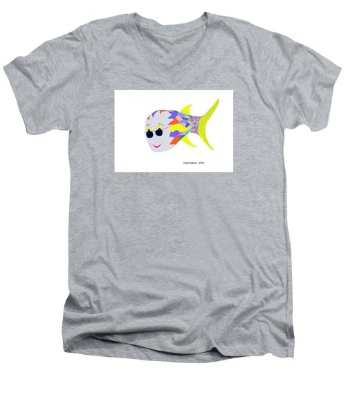 Happy Fish Touring Men's V-Neck T-Shirt by Fred Jinkins