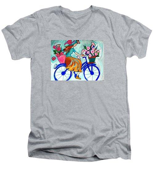 Happy Flower Lady Men's V-Neck T-Shirt