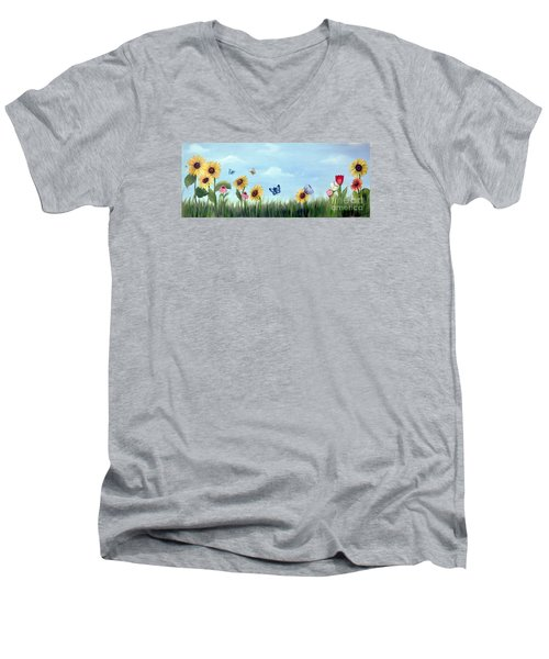 Happy Garden Men's V-Neck T-Shirt by Carol Sweetwood