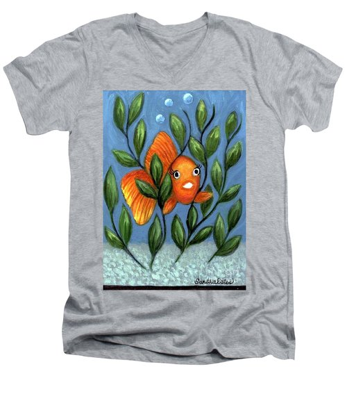 Happy Goldfish Men's V-Neck T-Shirt by Sandra Estes