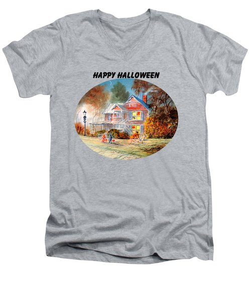 Men's V-Neck T-Shirt featuring the painting Happy Halloween by Bill Holkham