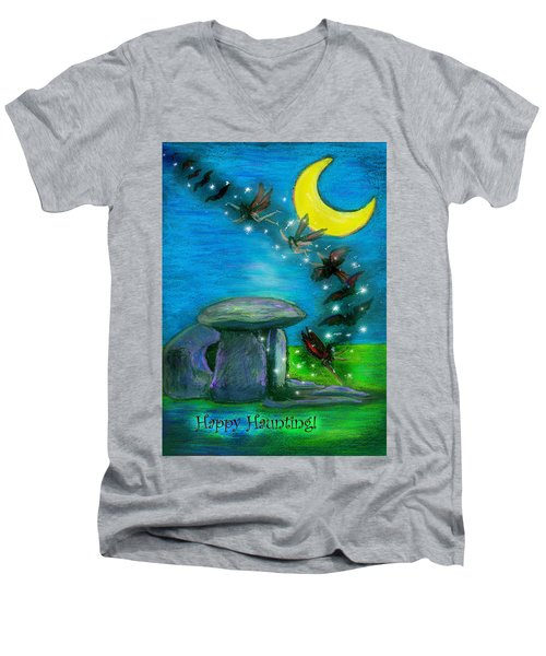 Happy Haunting Men's V-Neck T-Shirt by Diana Haronis