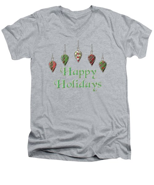 Happy Holidays Merry Christmas Men's V-Neck T-Shirt by Movie Poster Prints