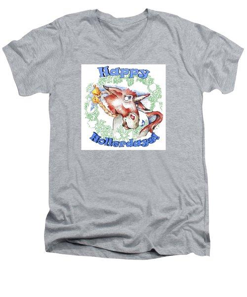 Real Fake News Happy Hollerdays Men's V-Neck T-Shirt