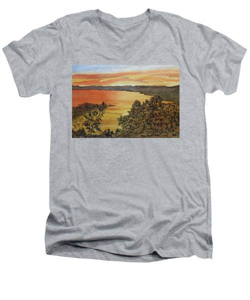 Men's V-Neck T-Shirt featuring the painting Happy Hour by Joel Deutsch