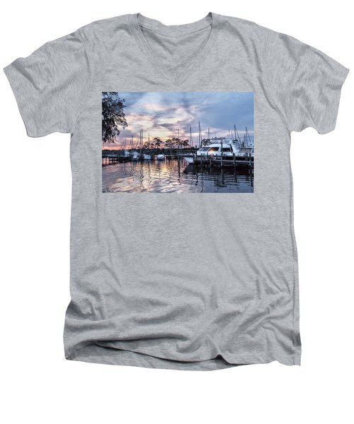 Happy Hour Sunset At Bluewater Bay Marina, Florida Men's V-Neck T-Shirt