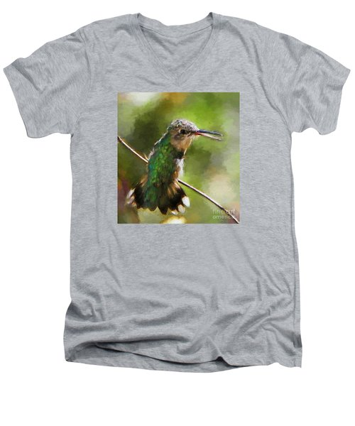 Happy Hummingbird Men's V-Neck T-Shirt by Tina  LeCour