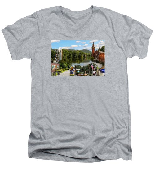 Happy In Easthampton Collage Men's V-Neck T-Shirt