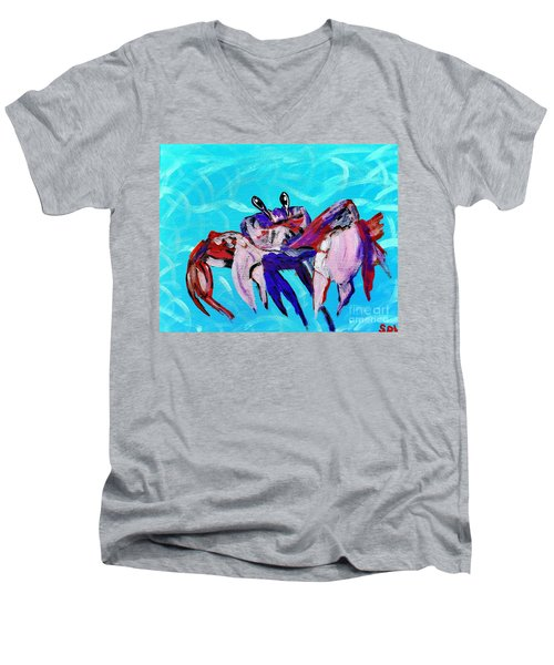Happy Little Crab  Men's V-Neck T-Shirt by Scott D Van Osdol