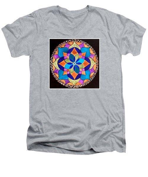 Happy Mandala  Men's V-Neck T-Shirt by Sandra Lira