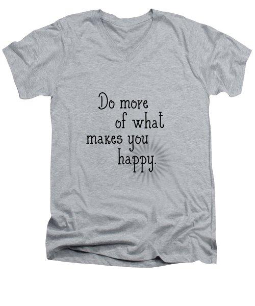 Text Art Happy Men's V-Neck T-Shirt