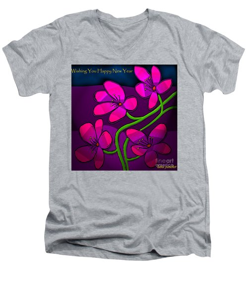 Men's V-Neck T-Shirt featuring the digital art Happy New Year by Latha Gokuldas Panicker