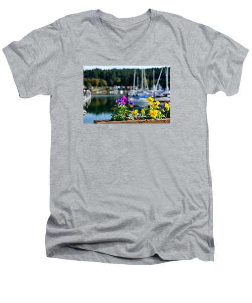 Happy Pansy Men's V-Neck T-Shirt by Tanya  Searcy