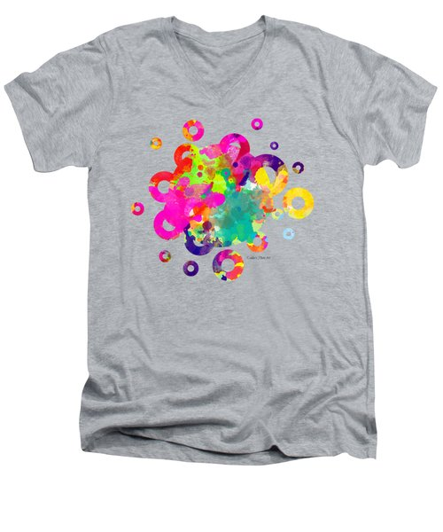 Happy Rings - Tee Shirt Design Men's V-Neck T-Shirt by Debbie Portwood