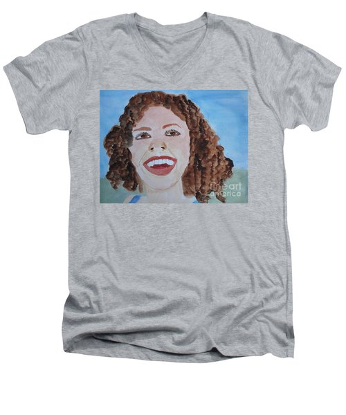 Men's V-Neck T-Shirt featuring the painting Happy by Sandy McIntire
