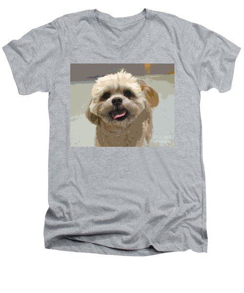 Happy Shih Tzu Men's V-Neck T-Shirt