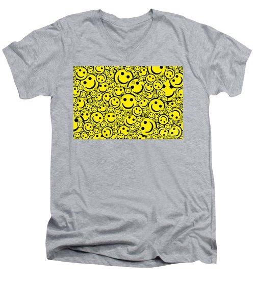 Happy Smiley Faces Men's V-Neck T-Shirt