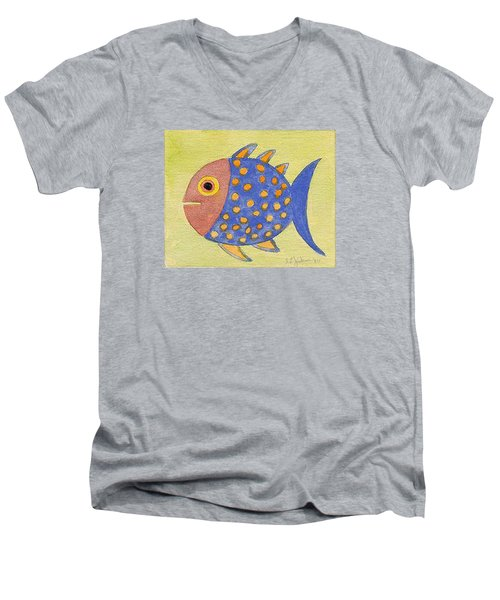 Happy Speckled Fish Men's V-Neck T-Shirt by Fred Jinkins