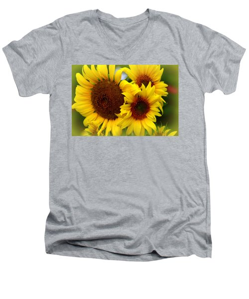 Men's V-Neck T-Shirt featuring the photograph Happy Sunflowers by Kay Novy