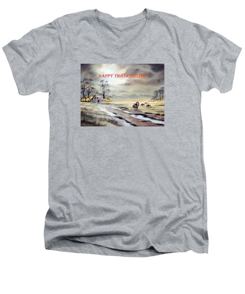 Men's V-Neck T-Shirt featuring the painting Happy Thanksgiving  by Bill Holkham