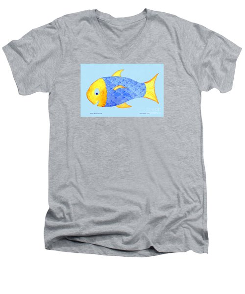 Happy Watercolor Fish Men's V-Neck T-Shirt by Fred Jinkins