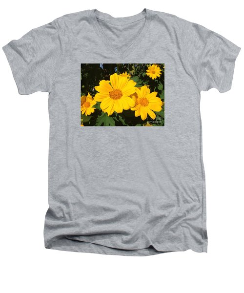 Happy Yellow Men's V-Neck T-Shirt by LeeAnn Kendall