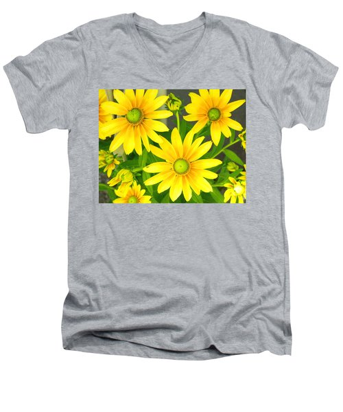 Happy Yellow Summer Cone Flowers In The Garden Men's V-Neck T-Shirt