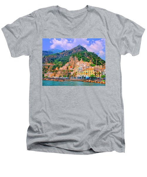 Harbor At Amalfi Men's V-Neck T-Shirt by Dominic Piperata
