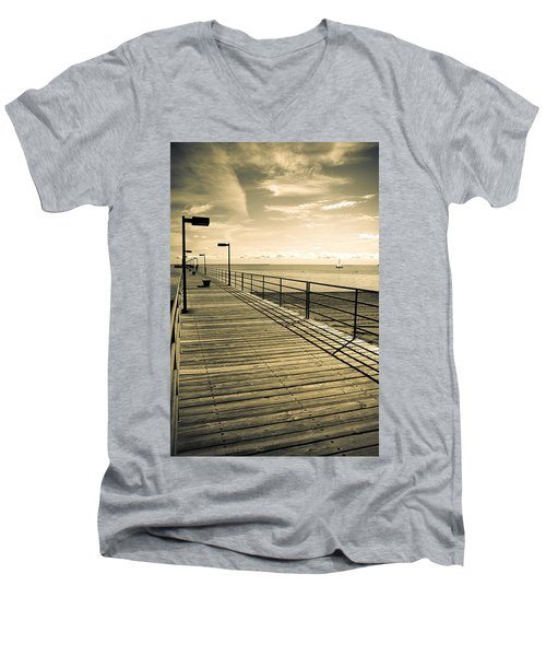 Harbor Beach Michigan Boardwalk Men's V-Neck T-Shirt