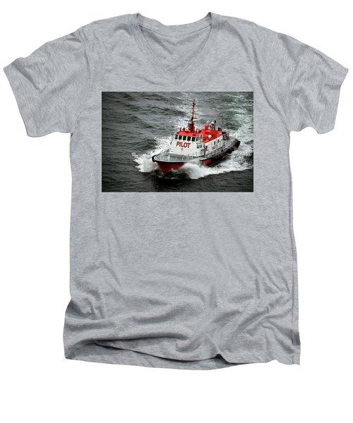 Men's V-Neck T-Shirt featuring the photograph Harbor Master Pilot by Allen Carroll