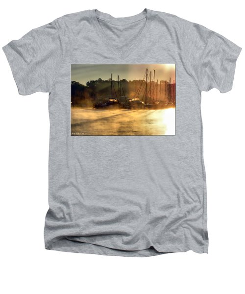 Men's V-Neck T-Shirt featuring the photograph Harbor Mist by Brian Wallace