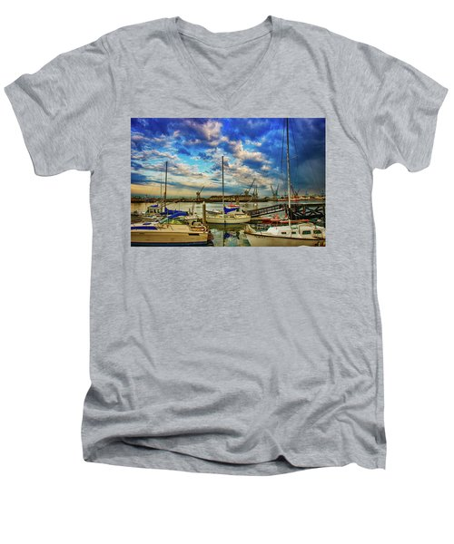 Harbor Scene Men's V-Neck T-Shirt by Joseph Hollingsworth