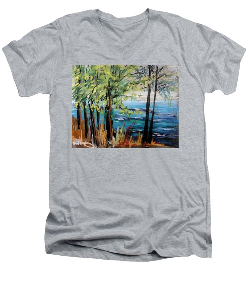 Men's V-Neck T-Shirt featuring the painting Harbor Trees by John Williams
