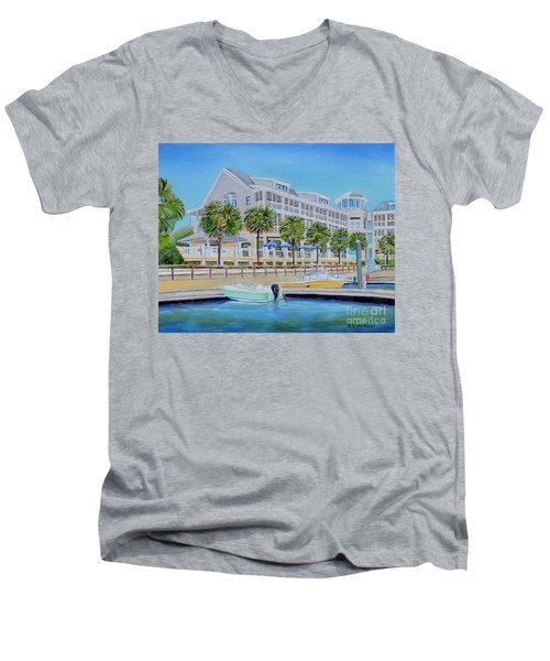 Harborside Marina Men's V-Neck T-Shirt by Shelia Kempf