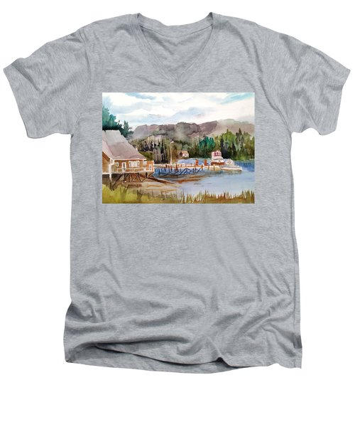 Harbour Scene Men's V-Neck T-Shirt by Larry Hamilton
