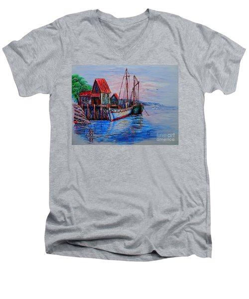 Harbour Men's V-Neck T-Shirt by Viktor Lazarev
