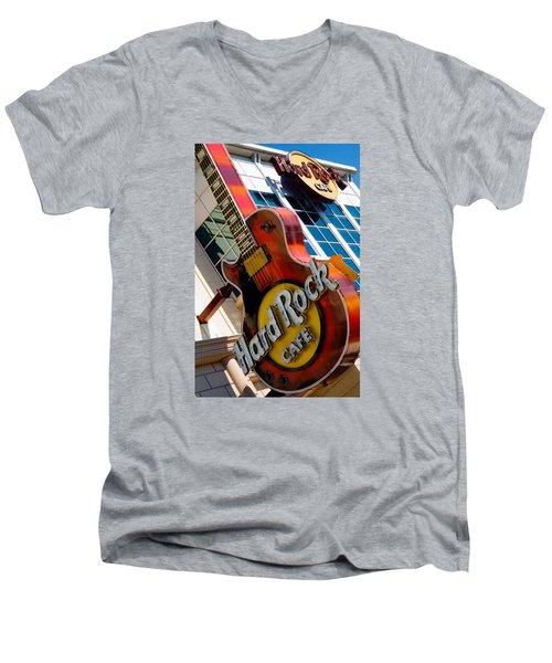 Men's V-Neck T-Shirt featuring the photograph Hard Rock Cafe Niagara by Bob Pardue